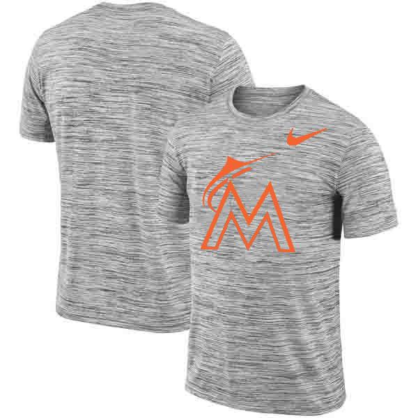 Miami Marlins Nike Heathered Black Sideline Legend Velocity Travel Performance T-Shirt