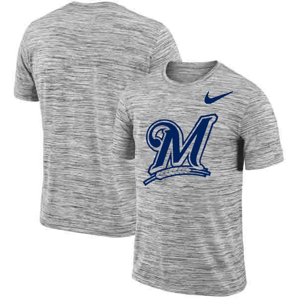 Milwaukee Brewers Nike Heathered Black Sideline Legend Velocity Travel Performance T-Shirt