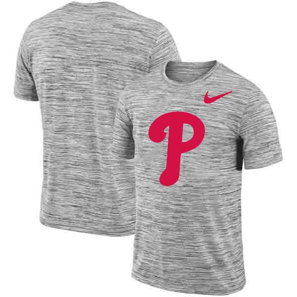 Philadelphia Phillies Nike Heathered Black Sideline Legend Velocity Travel Performance T-Shirt