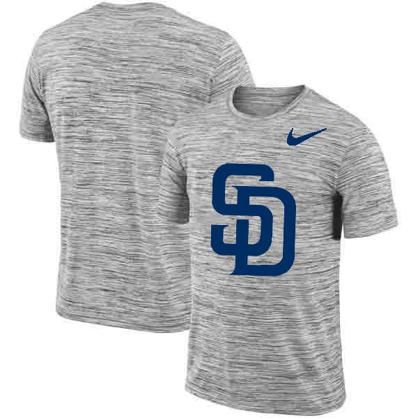 San Diego Padres Nike Heathered Black Sideline Legend Velocity Travel Performance T-Shirt