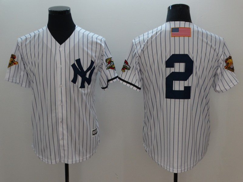 Yankees 2 Derek Jeter White 2001 World Series Cool Base Jersey
