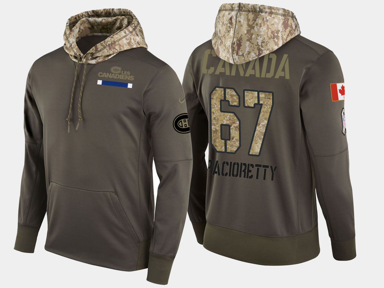Nike Canadiens 67 Max Pacioretty Olive Salute To Service Pullover Hoodie