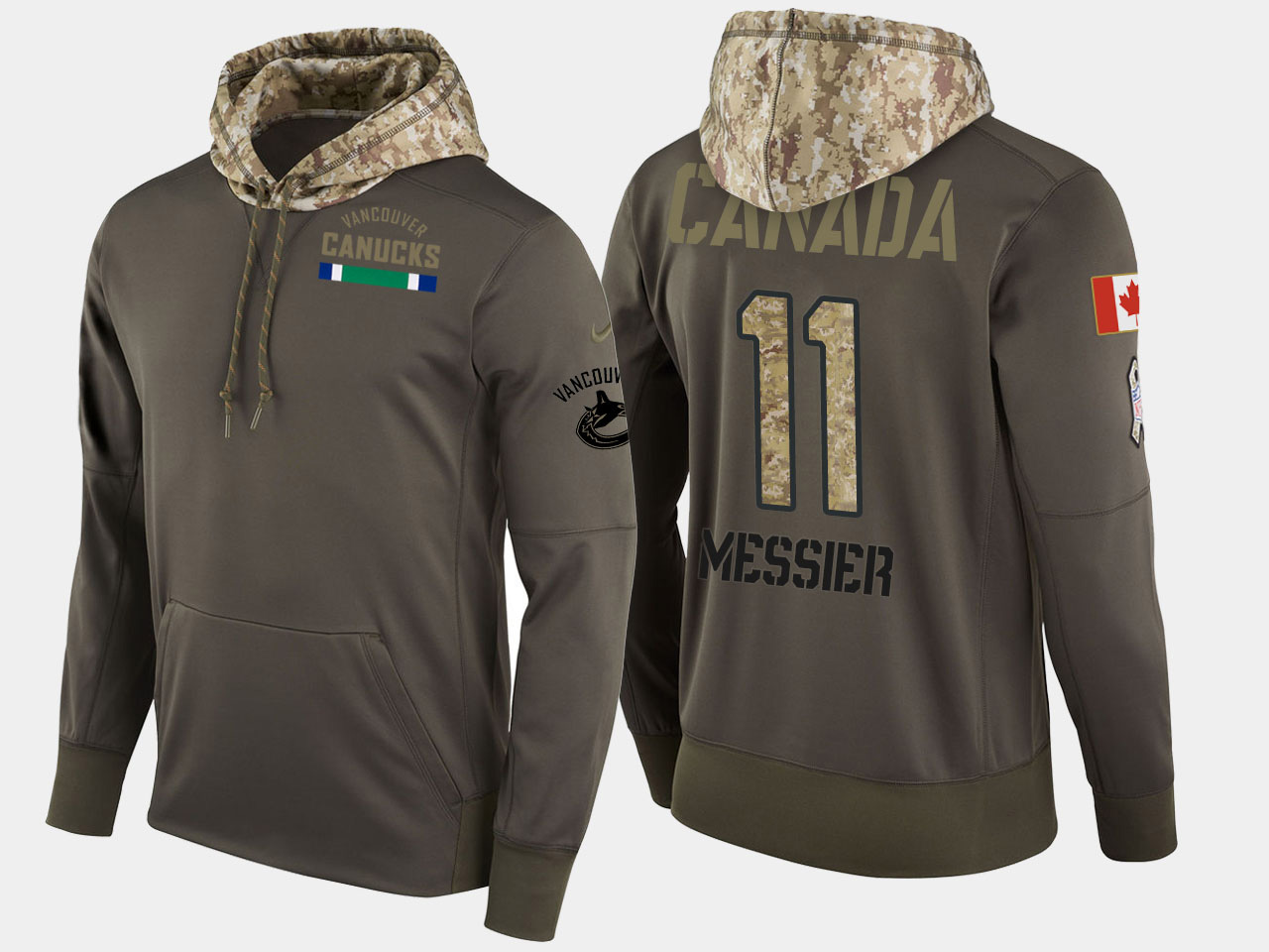 Nike Canucks 11 Mark Nessier Retired Olive Salute To Service Pullover Hoodie