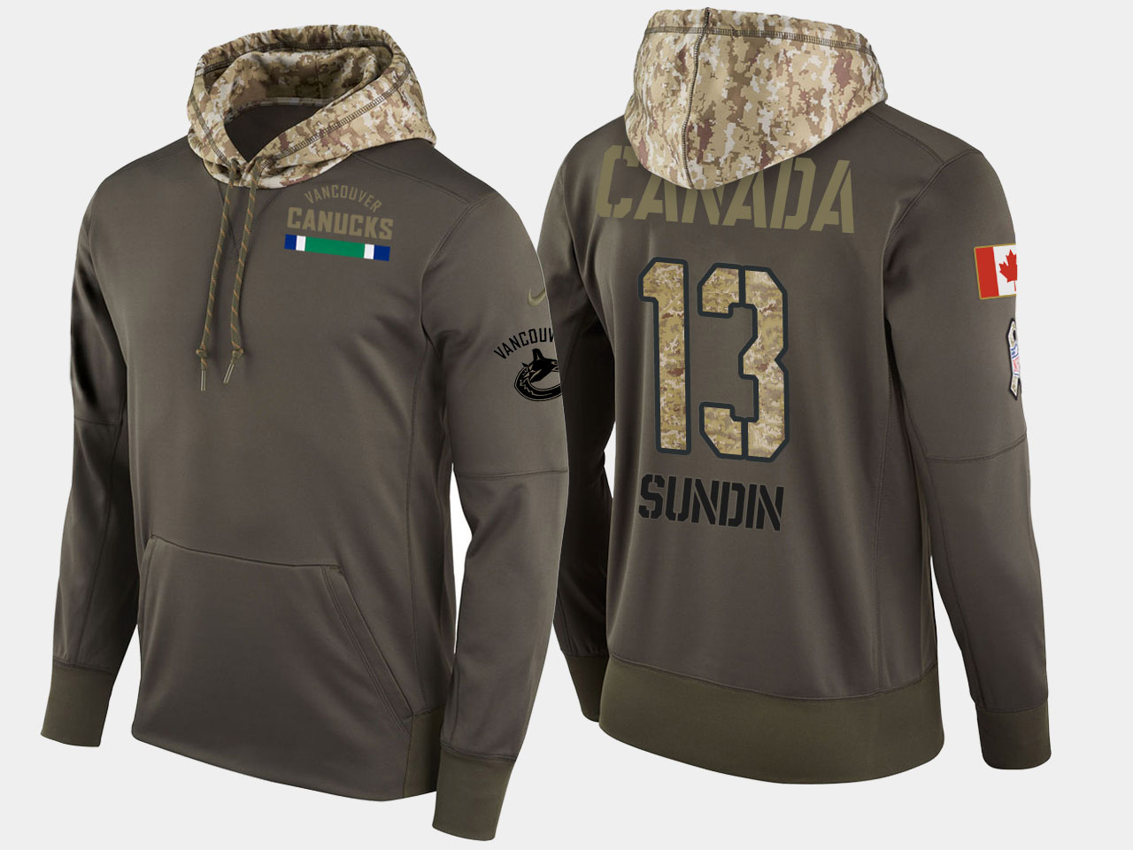 Nike Canucks 13 Mats Sundin Retired Olive Salute To Service Pullover Hoodie