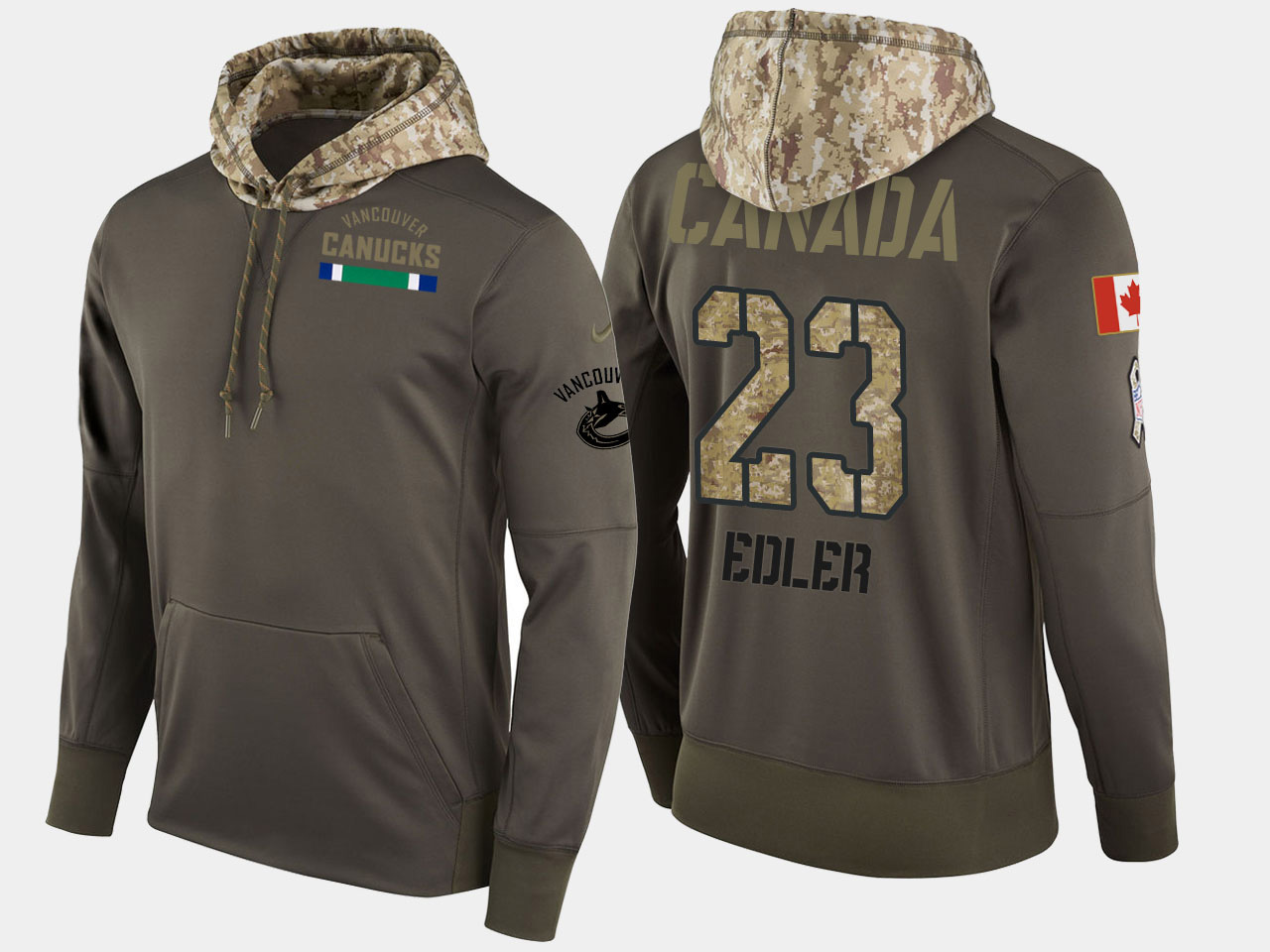 Nike Canucks 23 Alexander Edler Olive Salute To Service Pullover Hoodie