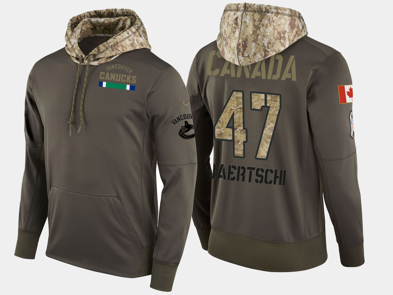 Nike Canucks 47 Sven Baertschi Olive Salute To Service Pullover Hoodie