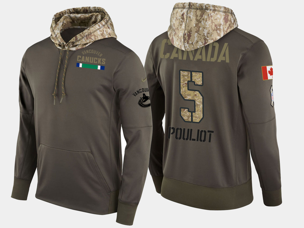 Nike Canucks 5 Derrick Pouliot Olive Salute To Service Pullover Hoodie
