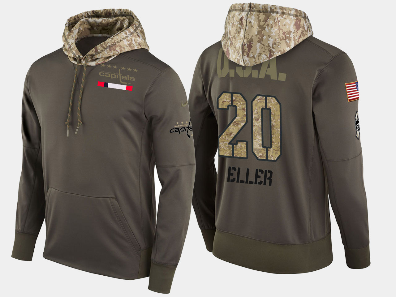 Nike Capitals 20 Lars Eller Olive Salute To Service Pullover Hoodie