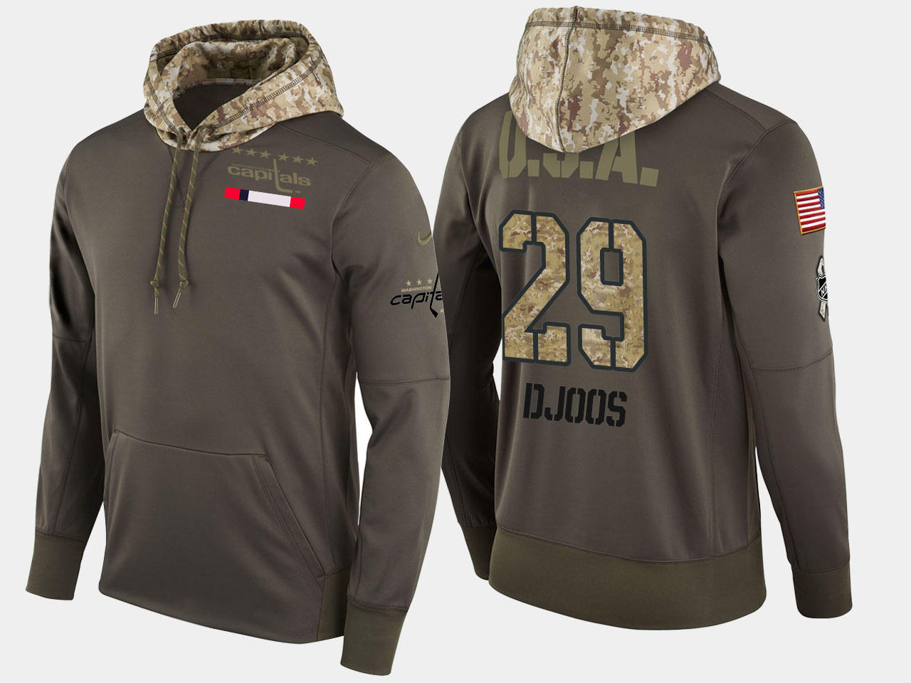Nike Capitals 29 Christian Djoos Olive Salute To Service Pullover Hoodie