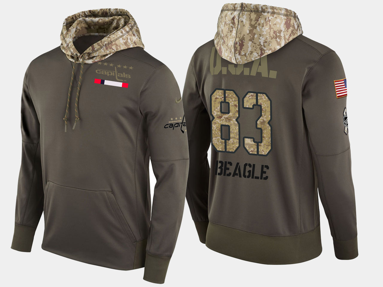 Nike Capitals 83 Jay Beagle Olive Salute To Service Pullover Hoodie
