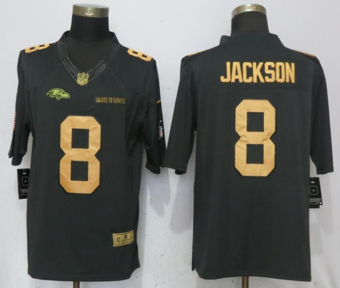 f85bd5640 Nike Ravens 8 Lamar Jackson Anthracite Gold Salute To Service Limited Jersey