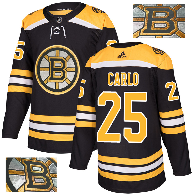 Bruins 25 Brandon Carlo Black With Special Glittery Logo Adidas Jersey