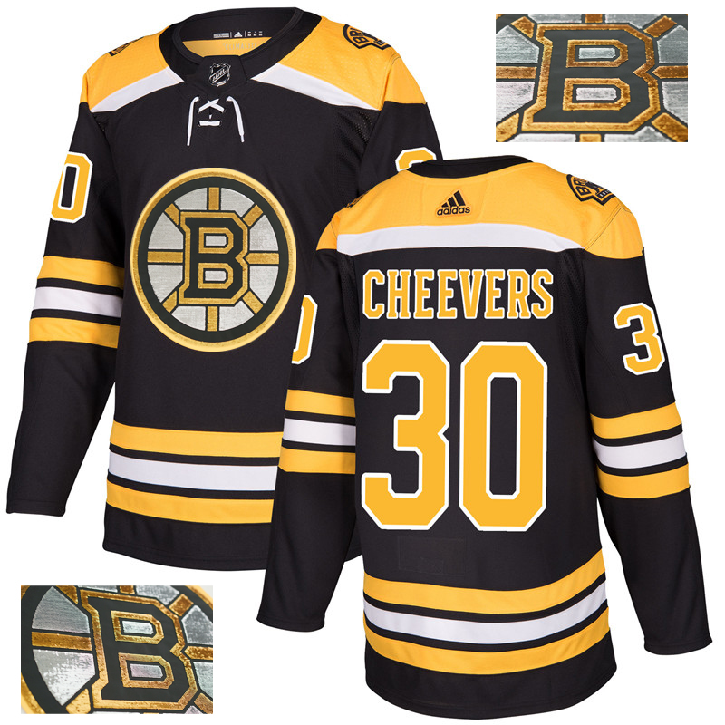 Bruins 30 Gerry Cheevers Black With Special Glittery Logo Adidas Jersey