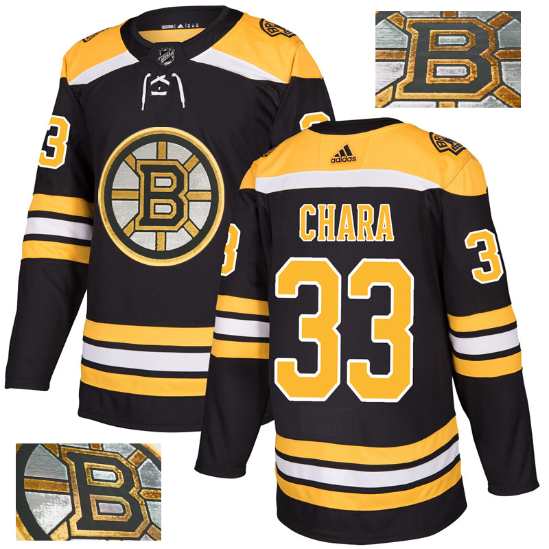 Bruins 33 Zdeno Chara Black With Special Glittery Logo Adidas Jersey