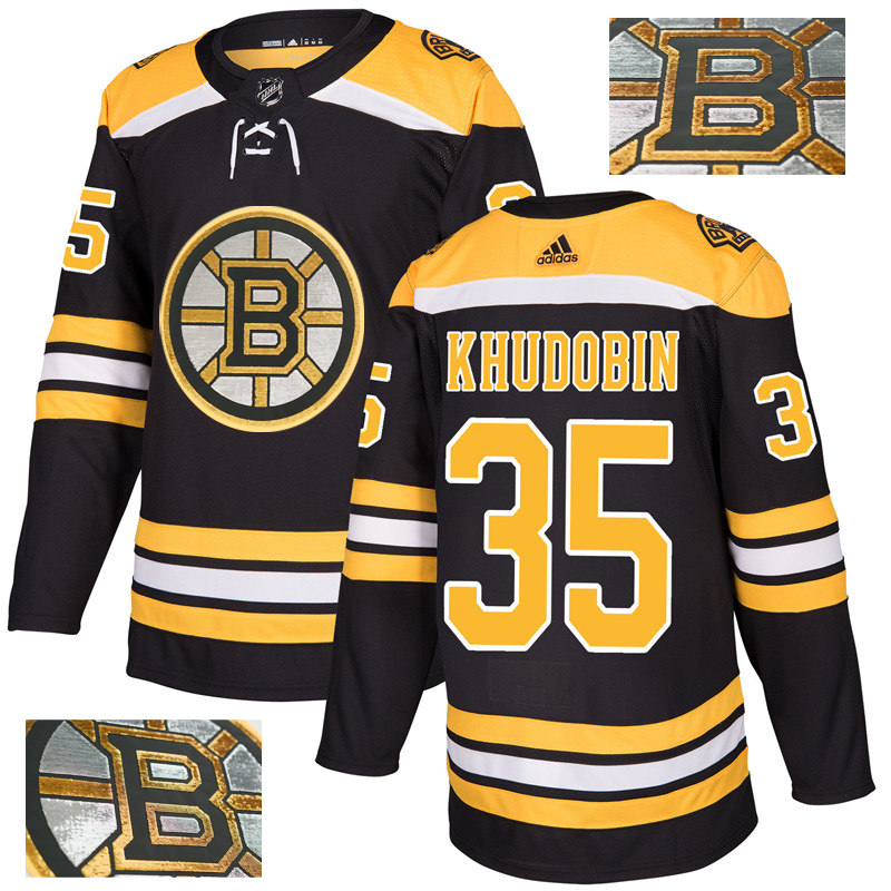 Bruins 35 Anton Khudobin Black With Special Glittery Logo Adidas Jersey