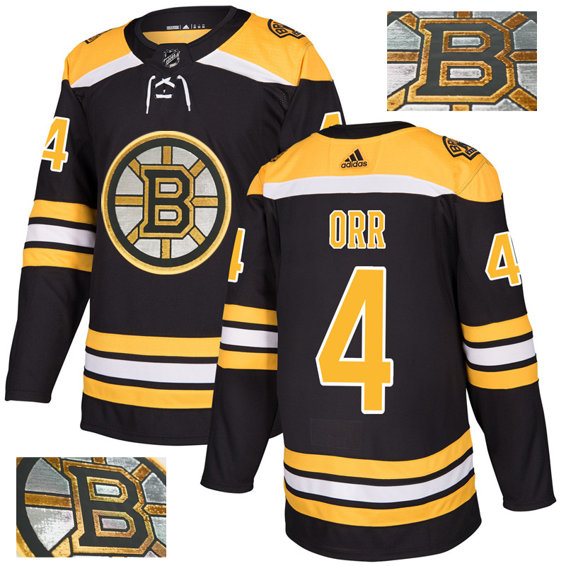 Bruins 4 Bobby Orr Black With Special Glittery Logo Adidas Jersey