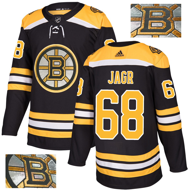 Bruins 68 Jaromir Jagr Black With Special Glittery Logo Adidas Jersey