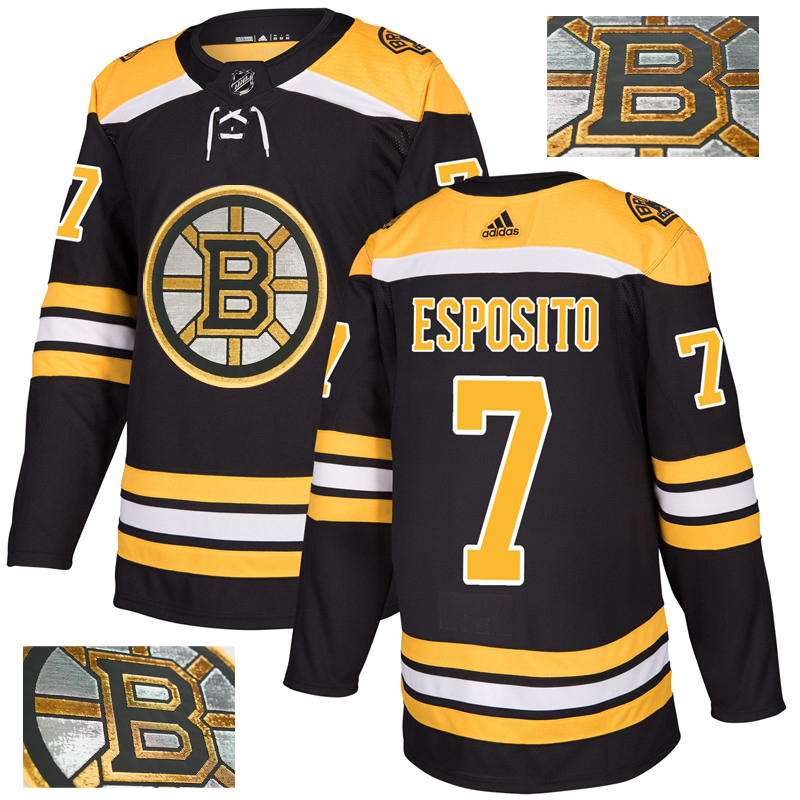 Bruins 7 Phil Esposito Black With Special Glittery Logo Adidas Jersey