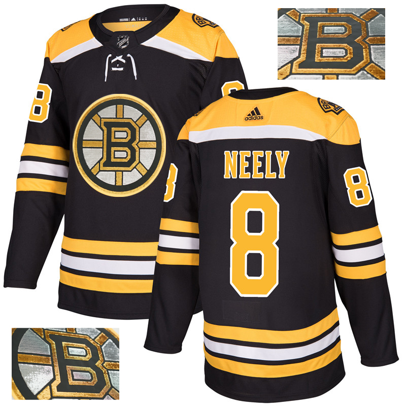 Bruins 8 Cam Neely Black With Special Glittery Logo Adidas Jersey