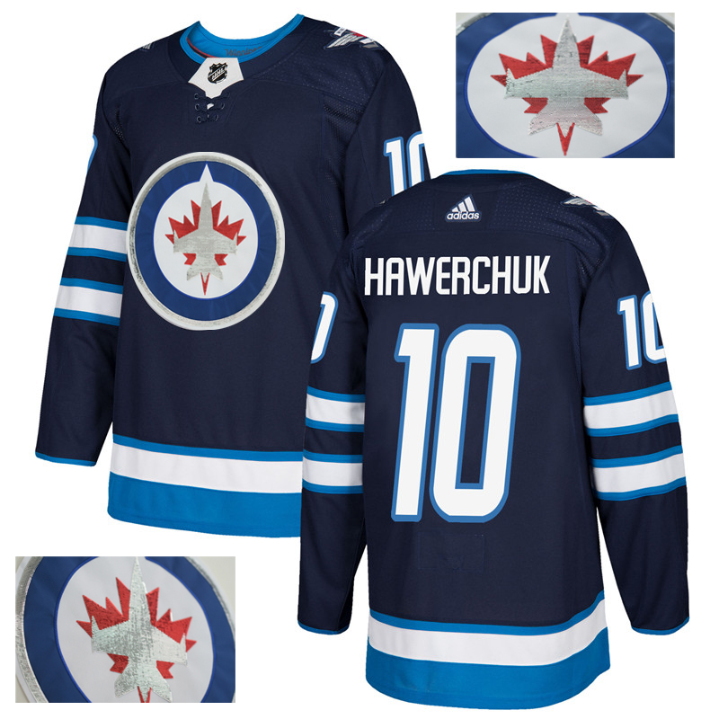 Jets 10 Dale Hawerchuk Navy With Special Glittery Logo Adidas Jersey
