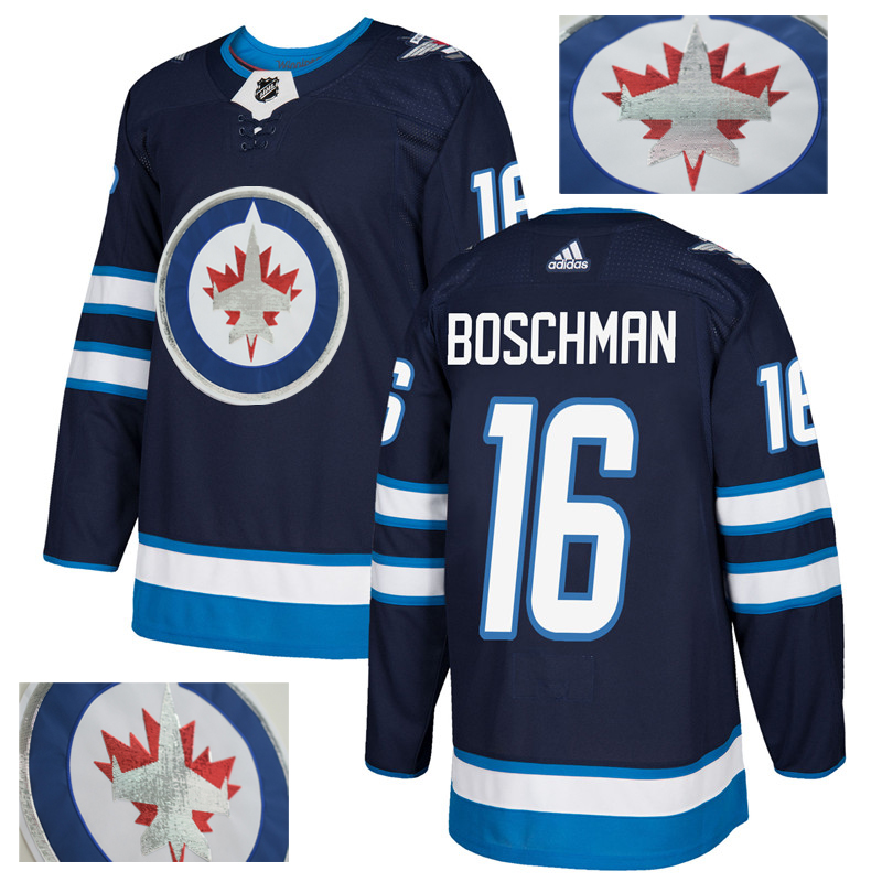 Jets 16 Laurie Boschman Navy With Special Glittery Logo Adidas Jersey