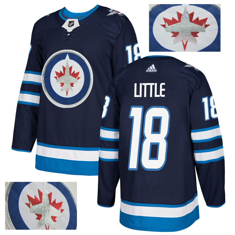 Jets 18 Bryan Little Navy With Special Glittery Logo Adidas Jersey