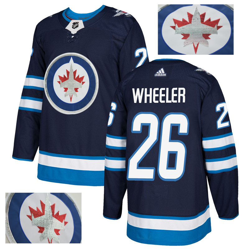 Jets 26 Blake Wheeler Navy With Special Glittery Logo Adidas Jersey