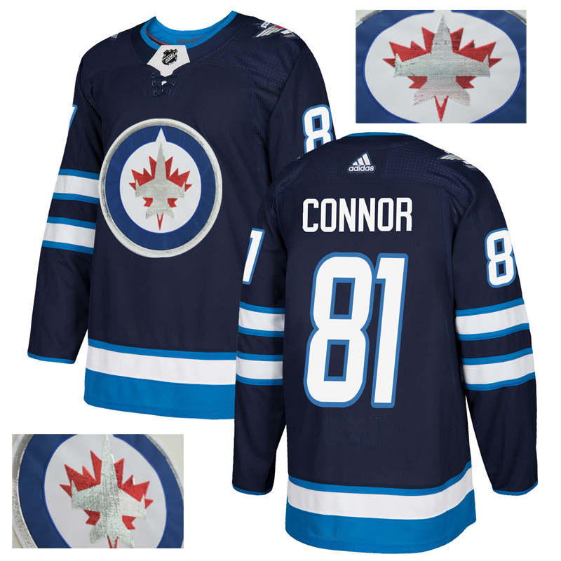 Jets 81 Kyle Connor Navy With Special Glittery Logo Adidas Jersey
