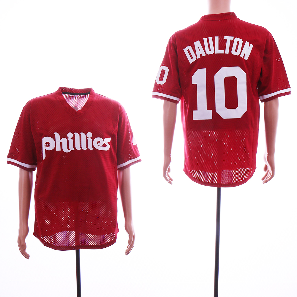 Phillies 10 Darren Daulton Red Mesh BP Jersey