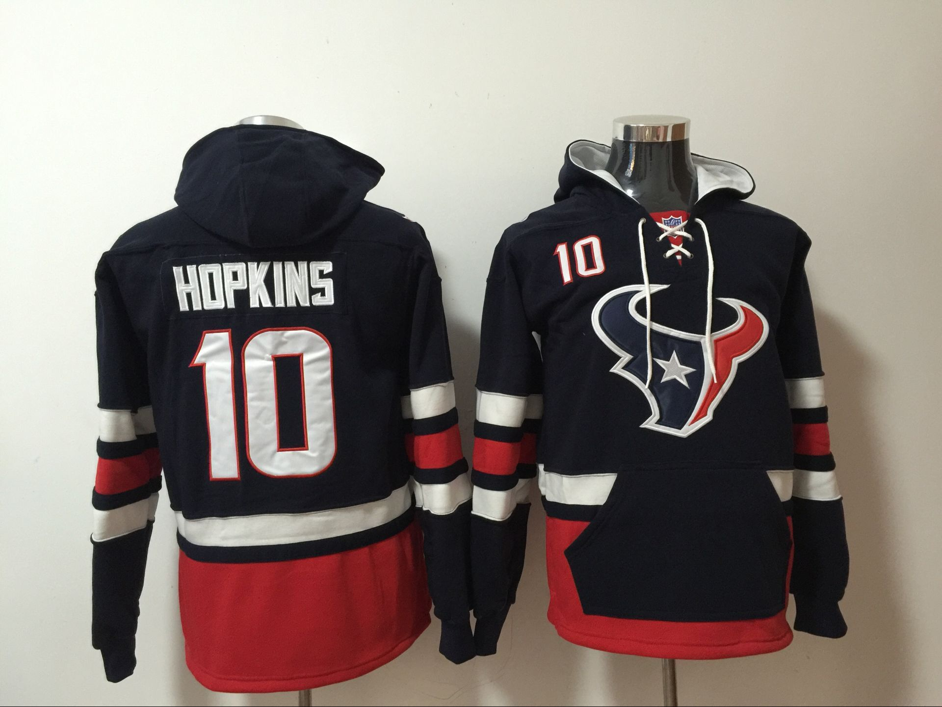Nike Texans 10 DeAndre Hopkins Navy All Stitched Hooded Sweatshirt