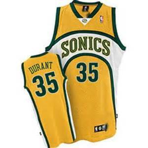 Supersonics 35 Durant Yellow New Revolution 30 Jerseys