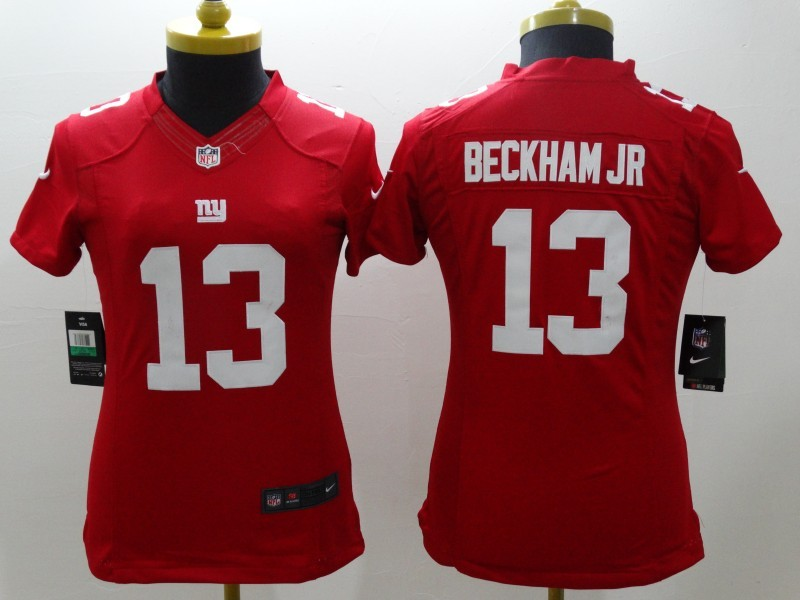 Nike Giants 13 Beckham Jr Red Women Game Jerseys
