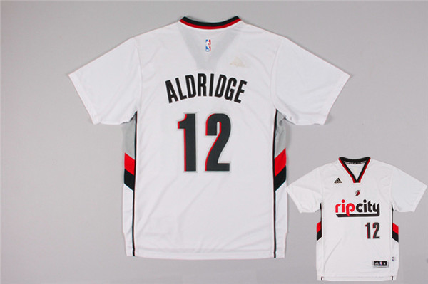 Blazers 12 Aldridge White Rip City Short Sleeve Jerseys