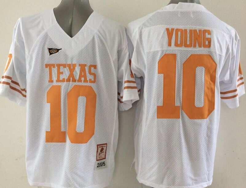 Texas Longhorns 10 Young White College Jersey