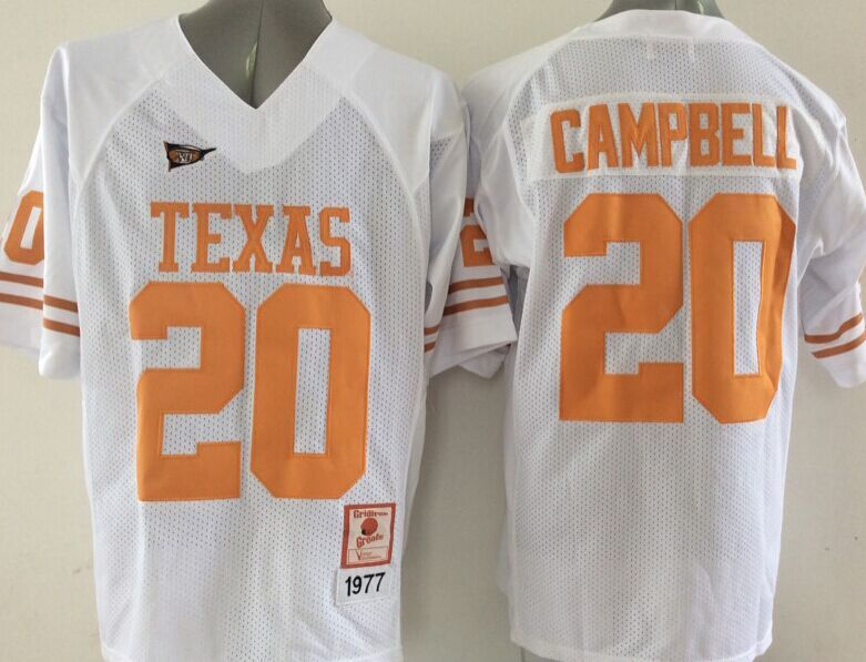 Texas Longhorns 20 Campbell White College Jersey