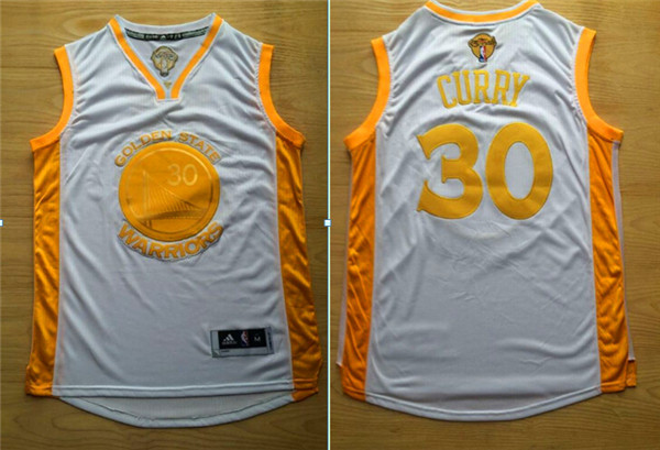 Warriors 30 Stephen Curry White 2015 NBA Champions Jersey