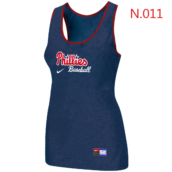 Nike Philadelphia Phillies Tri Blend Racerback Stretch Tank Top Blue