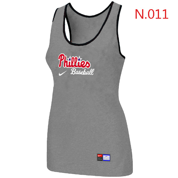 Nike Philadelphia Phillies Tri Blend Racerback Stretch Tank Top L.grey