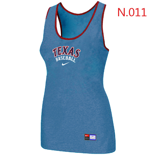 Nike Texans Rangers Tri Blend Racerback Stretch Tank Top L.Blue