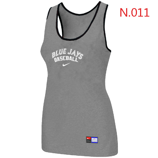 Nike Toronto Blue Jays Tri Blend Racerback Stretch Tank Top L.grey