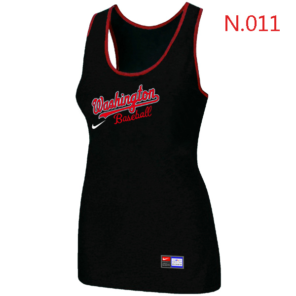 Nike Washington Nationals Tri Blend Racerback Stretch Tank Top Black