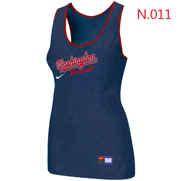 Nike Washington Nationals Tri Blend Racerback Stretch Tank Top Blue