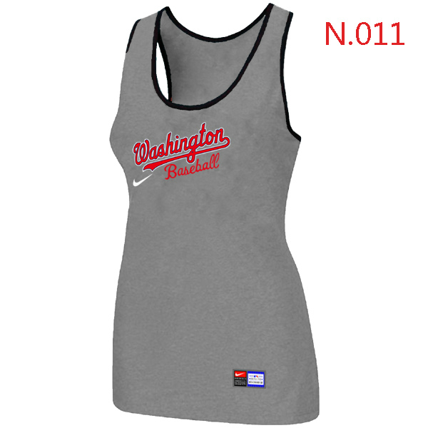 Nike Washington Nationals Tri Blend Racerback Stretch Tank Top L.grey