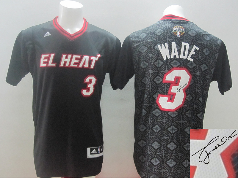 Heat 3 Wade Black Latin Night Signature Edition Jerseys
