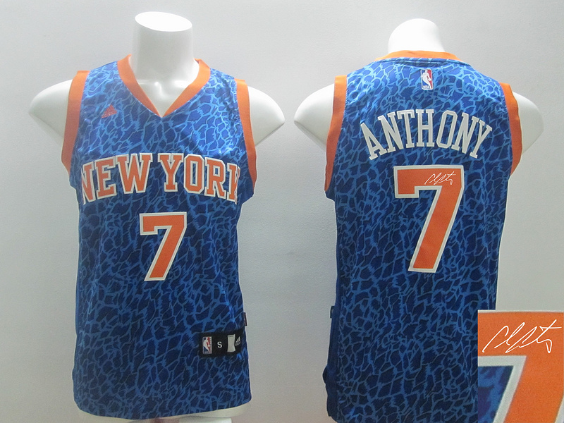 Knicks 7 Anthony Blue Crazy Light Signature Edition Jerseys