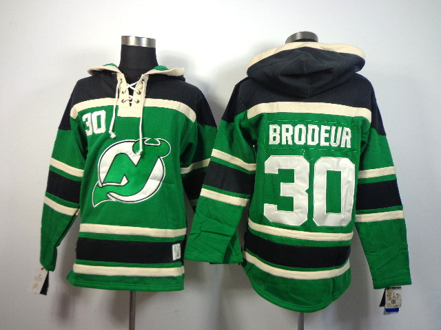 Devils 30 Brodeur Green Hooded Jerseys