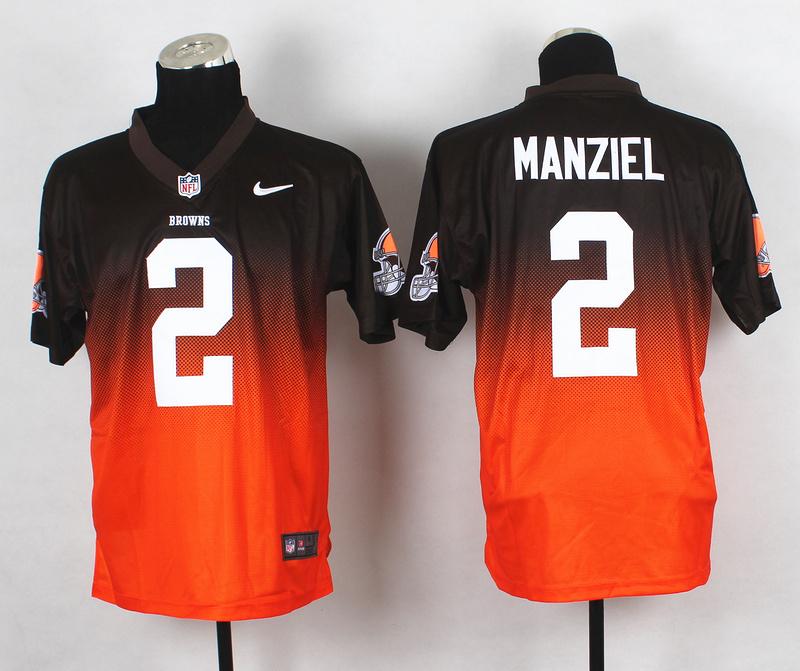 Nike Browns 2 Manziel Brown And Orange Drift II Elite Jerseys