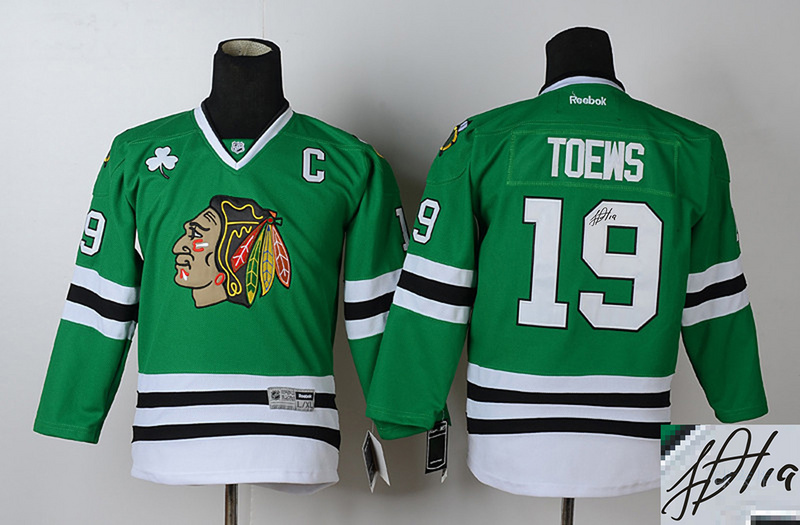 Blackhawks 19 Toews Green Signature Edition Youth Jerseys