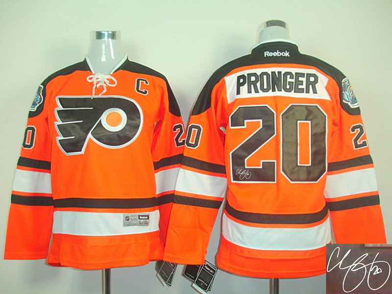 Flyers 20 Pronger Orange Signature Edition Youth Jerseys