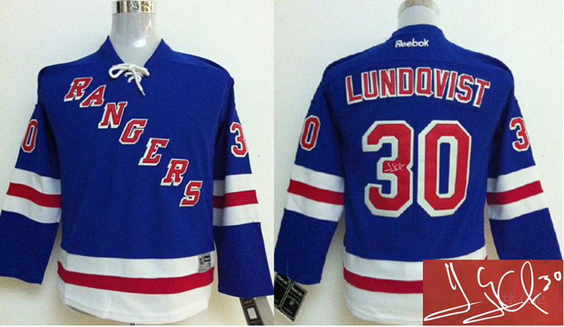 Rangers 30 Henrik Lundqvist Blue Signature Edition Youth Jerseys